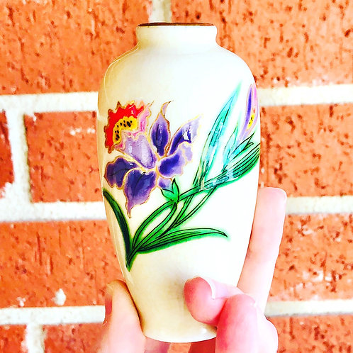 Vintage Japanese Bud Vase with Red and Purple Flowers