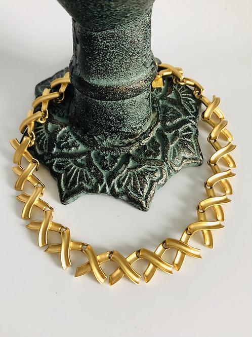 Vintage Large X Gold Anne Klein Choker Necklace