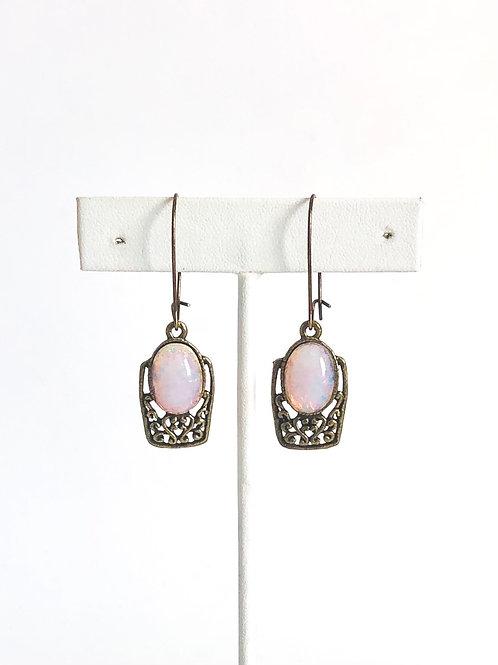Vintage Faux Opal and Brass Filigree Earrings