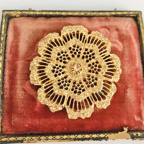 Vintage Gold Flower Rhinestone Pin and Pendant