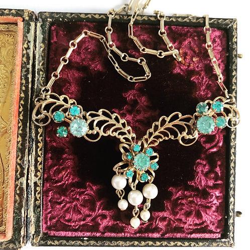 Vintage Interlocking Blue Rhinestone and Pearl Necklace