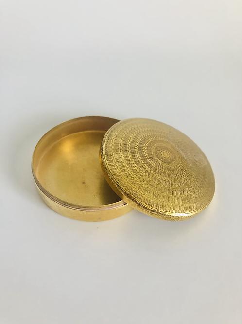 Vintage Brass Round Powder Keepsake Box