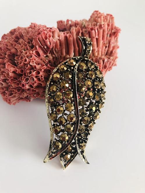 Stunning Copper Rhinestone Vintage Flower Pin by Lisner
