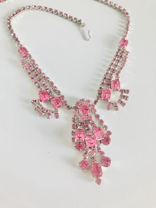 Fabulous Pretty in Pink Rhinestone Necklace