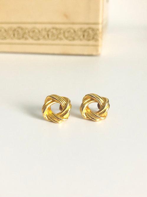 Vintage Goldplated Interwoven Stud Earrings