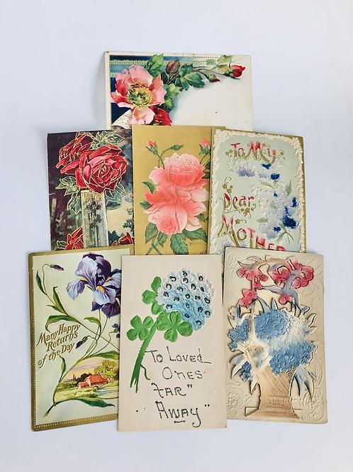Set of 7 Ornate Vintage Postcards
