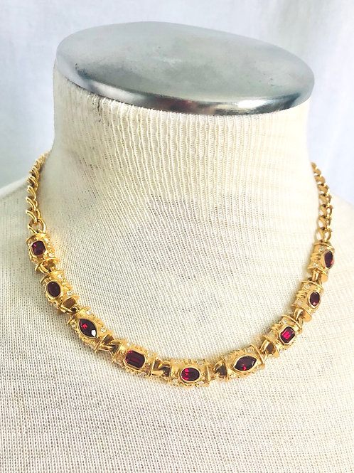 Vintage Napier Red and Clear Rhinestone Adjustable Necklace