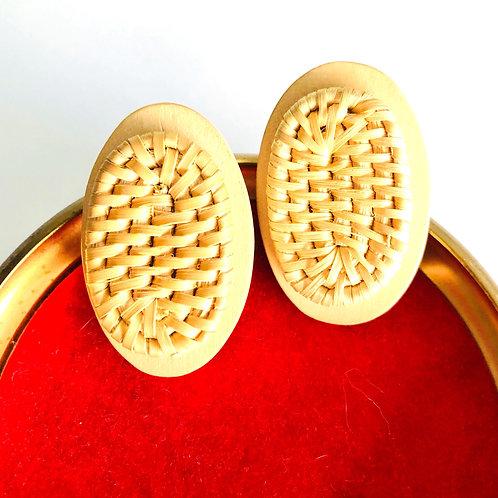 Vintage Wood Woven Rattan Stud Style Earrings