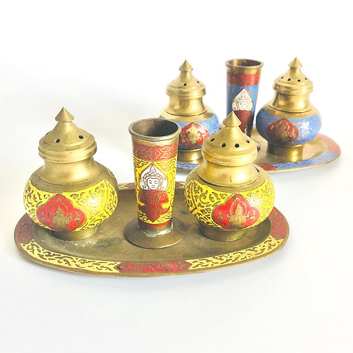 Brass and Enamel Salt, Pepper, Toothpick Holder Set