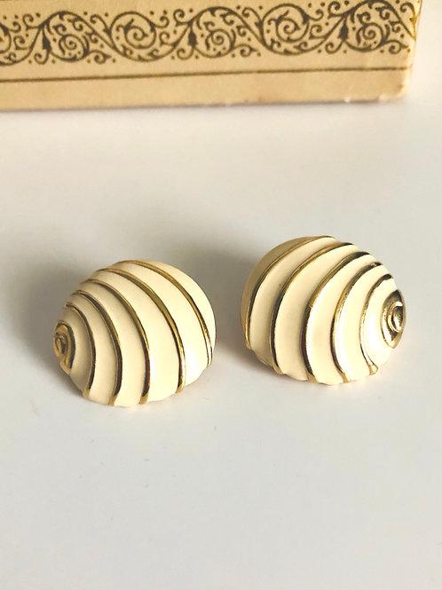 Vintage Napier Cream Enamel Seashell Style Earrings
