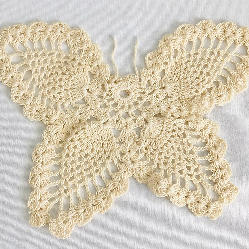 Vintage Hand Made Cream Butterfly Doily