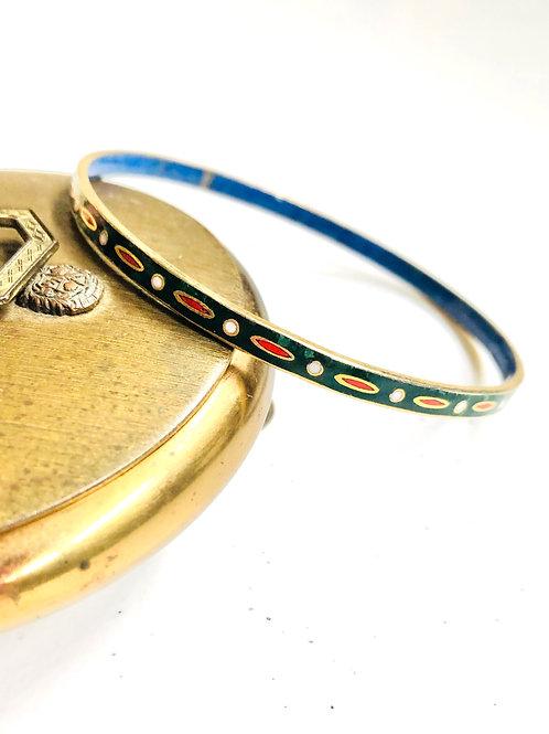 Vintage Cloisonne Enamel Bangle Bracelet