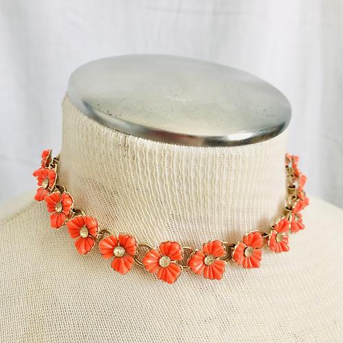 Vintage Orange Flower and Rhinestone Choker Necklace