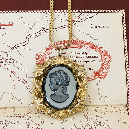 Vintage Charcoal Gray Glass Cameo Ornate Frame Necklace