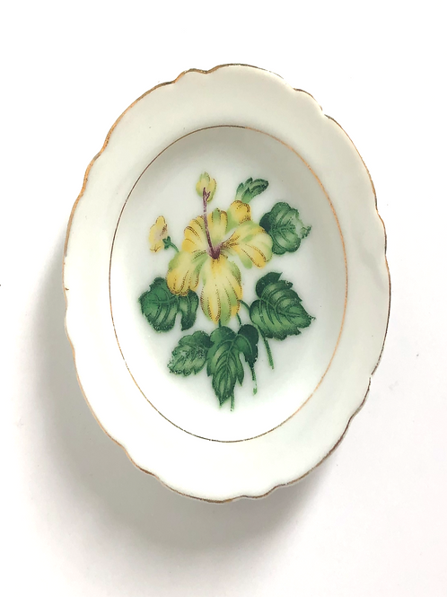 Small Vintage Japanese Trinket Dish/Plate with Yellow Flower