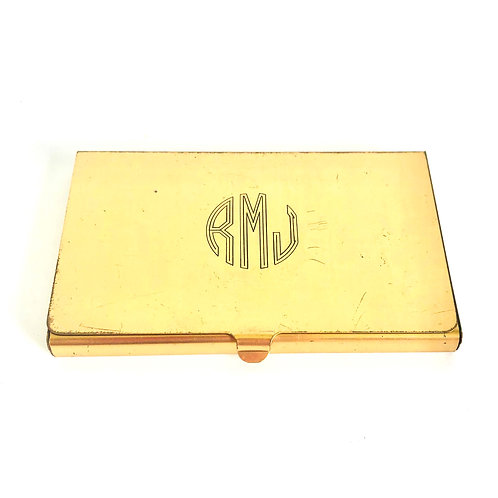 Vintage Gold Card Holder with Initials RMJ