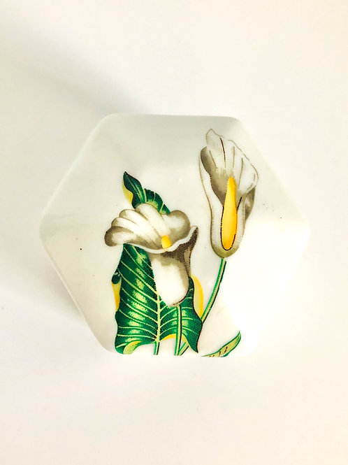 Vintage Hand Painted Calla Lily Jewelry/Keepsake Box