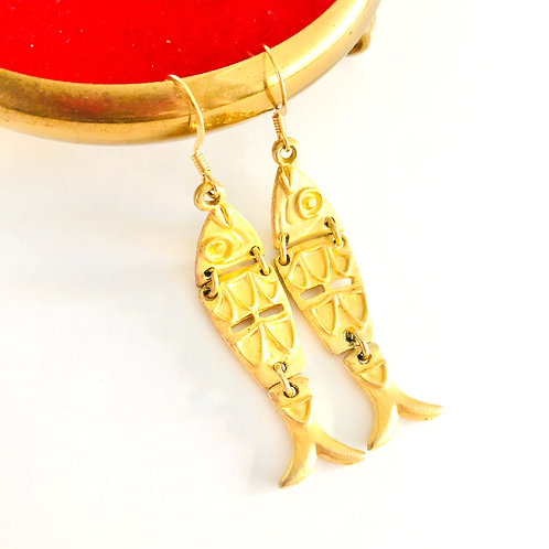 Vintage Articulated Fish Earrings