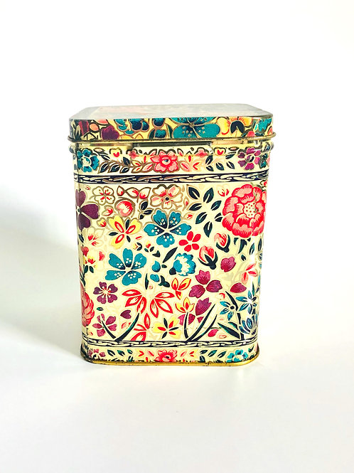 Vintage Yellow Storage Tin with Multicolor Flowers