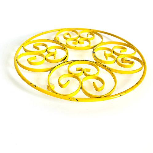 Vintage Yellow Enamel Metal Trivet