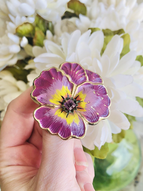 Vintage Coro Purple Pansy Brooch Pin