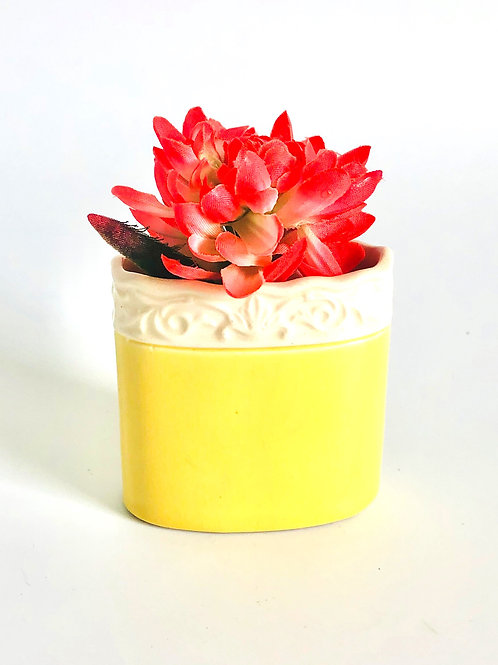 Small Vintage Yellow Vessel Made in Czechoslovakia