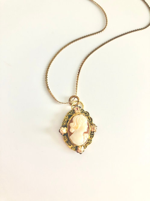 Vintage Gold Filled Carved Cameo with Roses Necklace