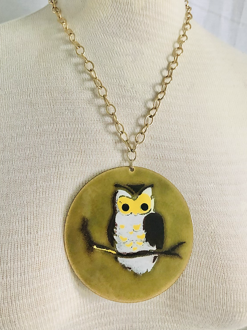 Vintage Handpainted Enamel Owl Statement Necklace