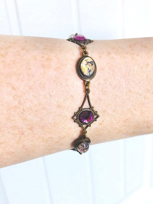Vintage Faux Opal and Purple Glass Toggle Bracelet