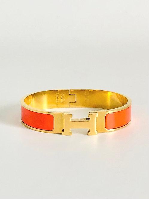 Hermes Narrow Clic H Goldplated Bracelet