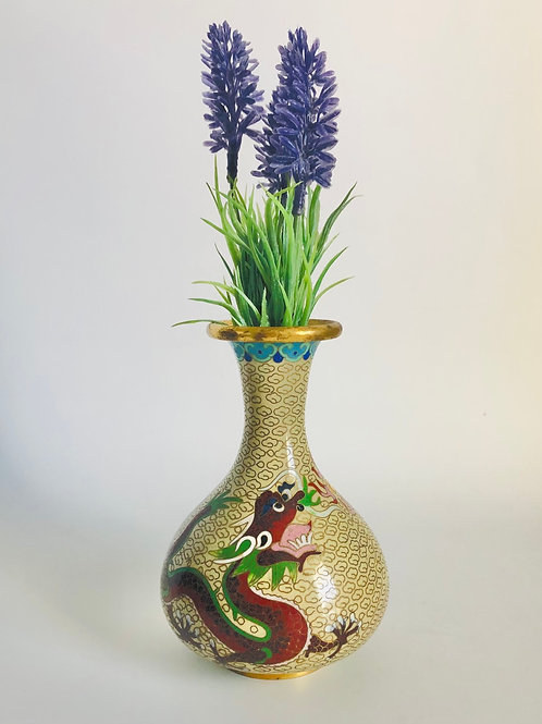 Vintage Yellow Cloisonné Vase with Red Dragon