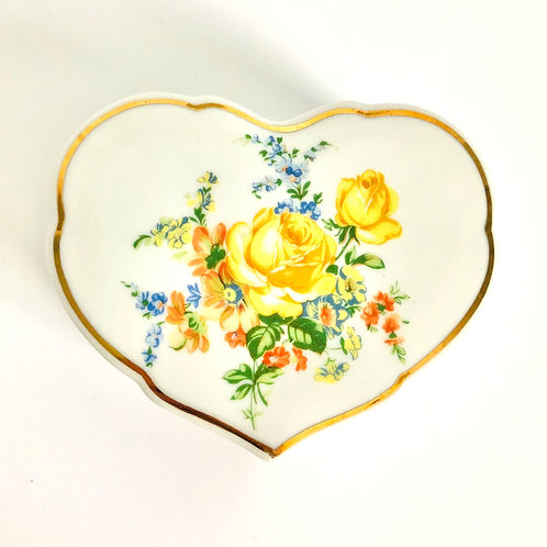 Vintage Hand Painted Yellow Rose Jewelry/Keepsake Box