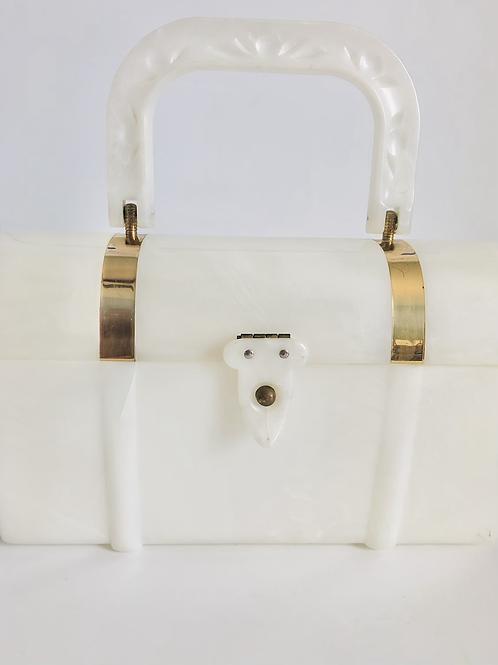 Vintage White Mid Century Plastic Box Purse