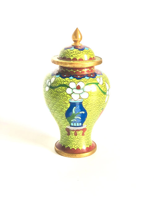 Green and Blue Vintage Cloisonne Jar with Floral Detail
