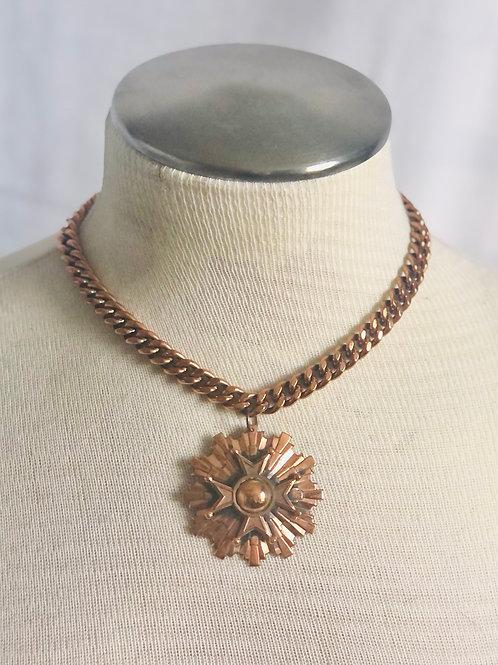 Vintage Renoir Style Copper Maltese Cross Necklace