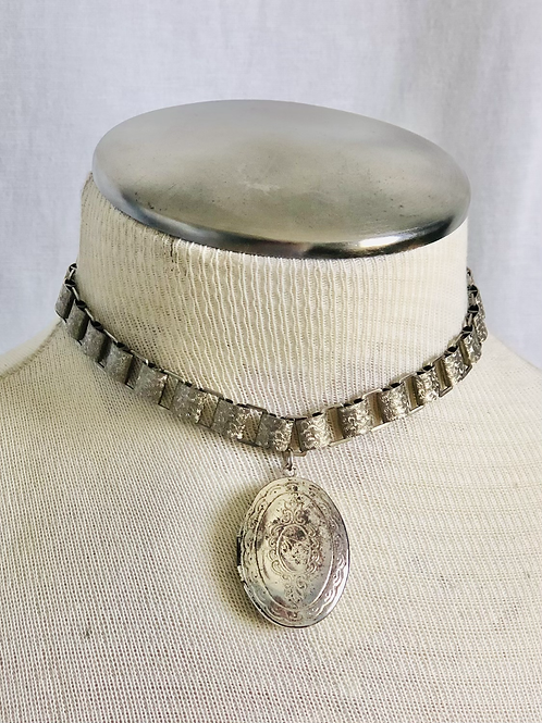Vintage Silver Locket Choker with Book Chain