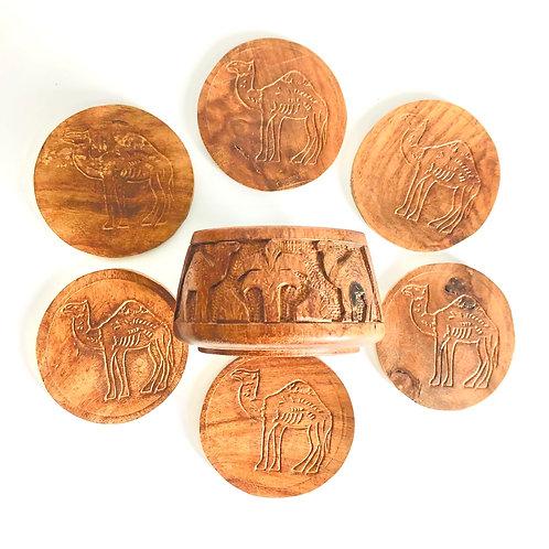 Vintage Wood Camel Coaster Set