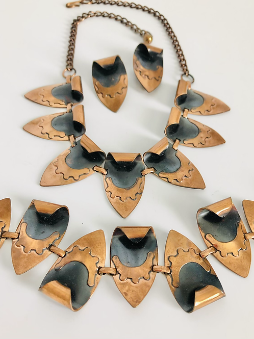 Vintage Rare MidCentury Abstract Copper Set