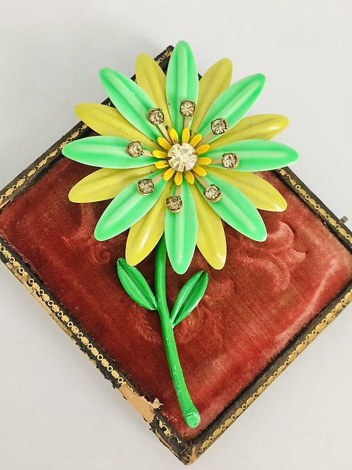 Vintage Yellow and Green Enamel and Rhinestone Broach Pin