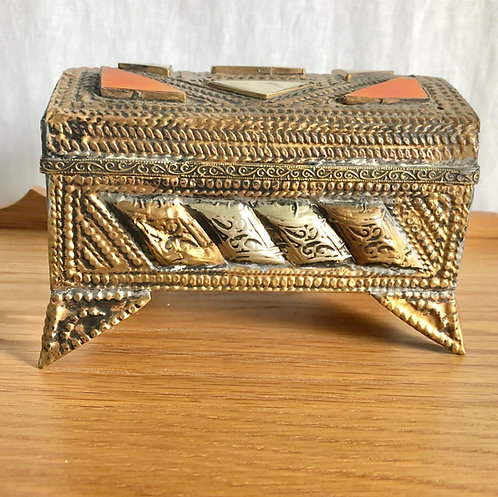 Vintage Inlayed Brass Box with Fleur De Lis Lining