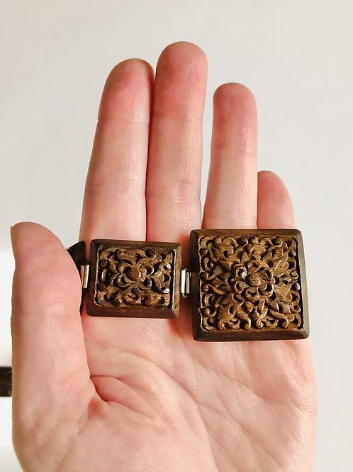 Vintage Brown Square Carved Link Boho Style Belt