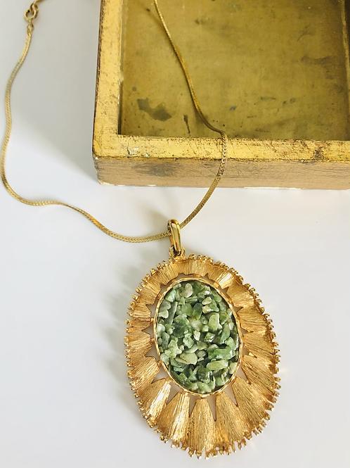 Vintage Green Stone Statement Necklace