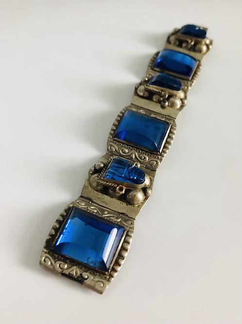 Vintage 1960s Sterling Taxco and Blue Glass Bracelet