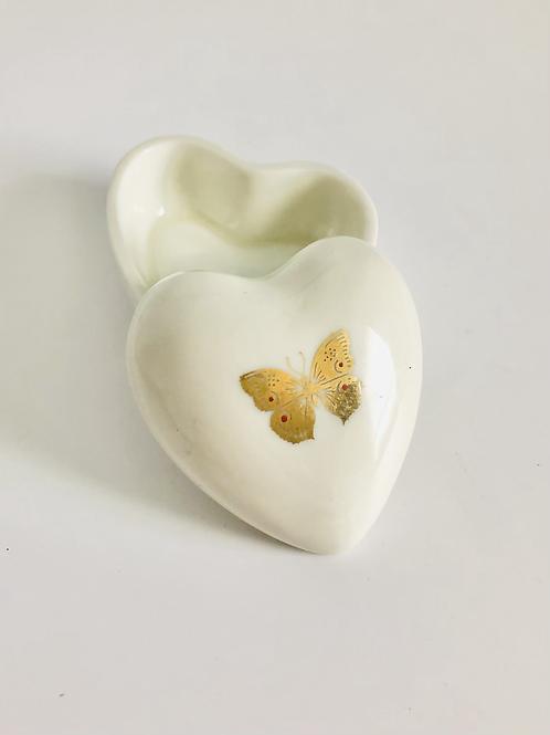Vintage Takahashi San Francisco Heart Shaped Butterfly Keepsake Box