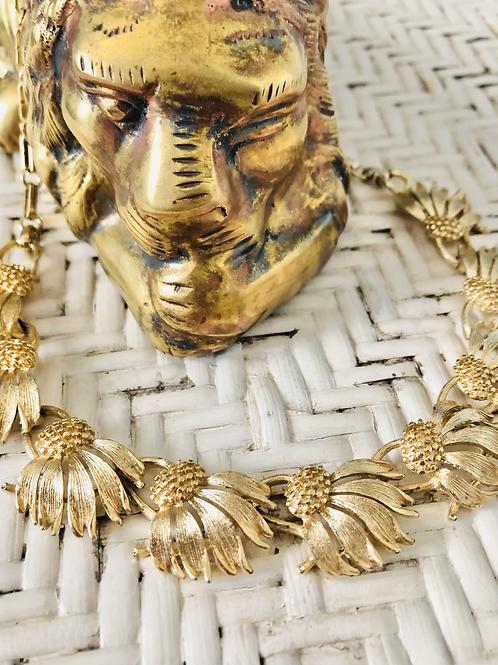 Vintage Lisner Goldplated Sunflower Choker Necklace