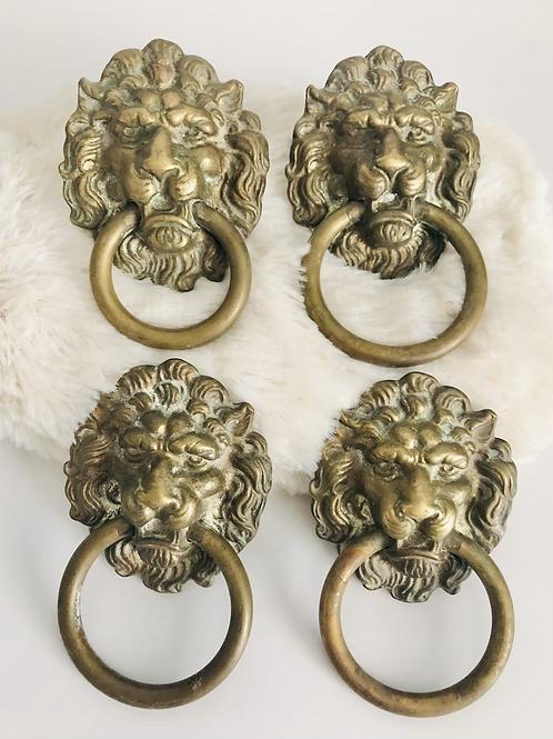 Set of 4 Vintage Solid Brass Lion Head Drawer Pulls