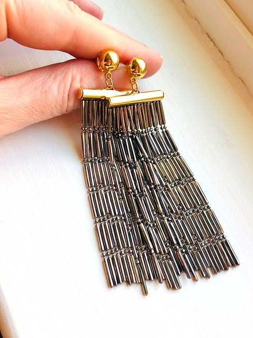 Gunmetal and Gold Waterfall Style Earrings