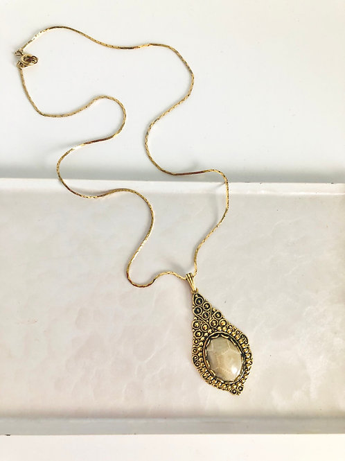 Vintage Ornate Teardrop Grey Segmented Pendant Necklace