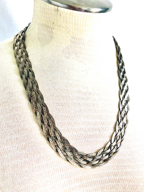 Vintage Six Chain Braided Statement Necklace