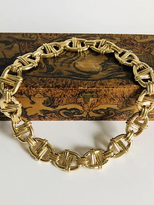 Vintage Gold Ciner Oval Link Statement Necklace